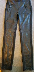 Faux leather moto leggings.